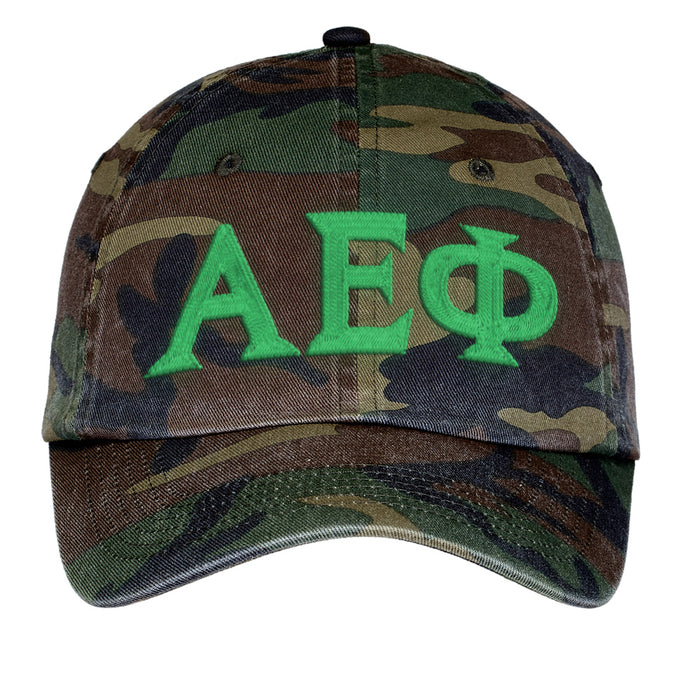 Alpha Epsilon Phi Letters Embroidered Camouflage Hat