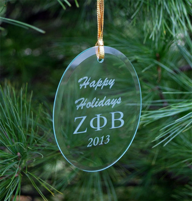 Zeta Phi Beta Engraved Glass Ornament