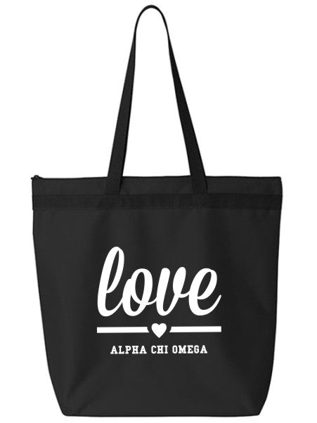 Alpha Chi Omega Love Tote Bag