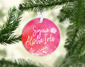Sigma Alpha Iota Round Acrylic Watercolor Ornament
