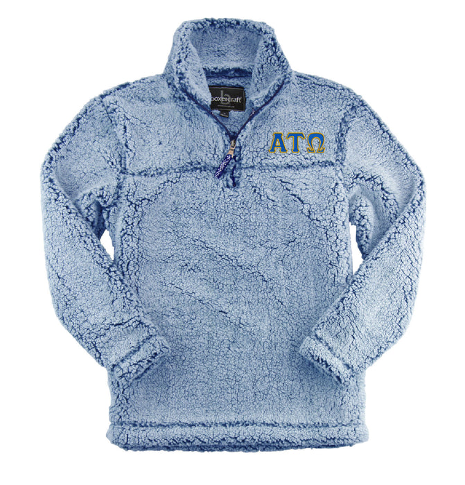 Alpha Tau Omega Embroidered Sherpa Quarter Zip Pullover