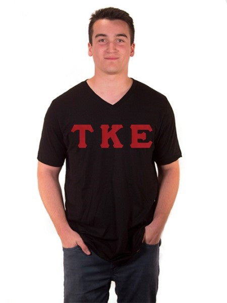 Tau Kappa Epsilon V-Neck T-Shirt with Sewn-On Letters