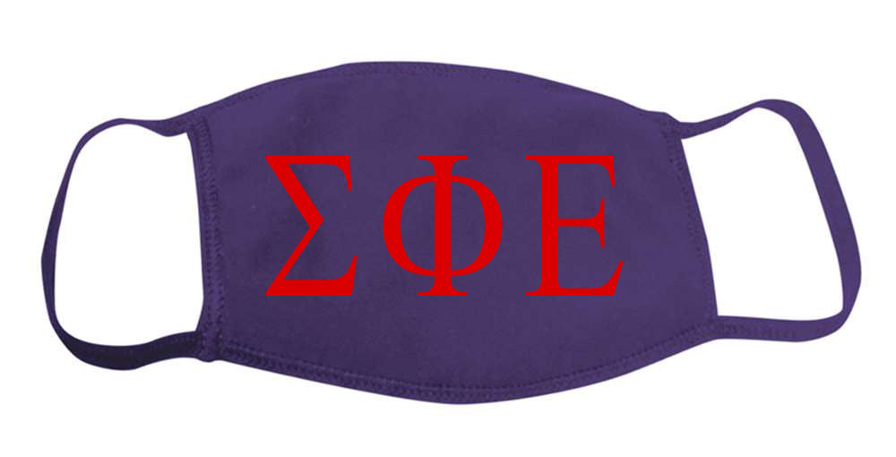 Sigma Phi Epsilon Face Mask With Big Greek Letters