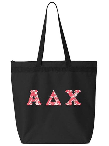 Alpha Delta Chi Large Zippered Tote Bag with Sewn-On Letters