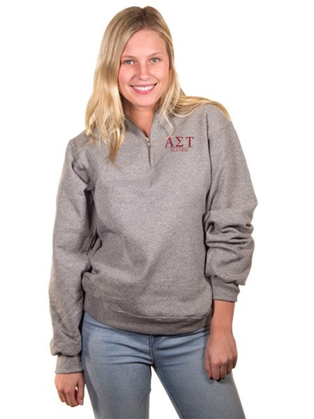Alpha Sigma Tau Embroidered Quarter Zip with Custom Text