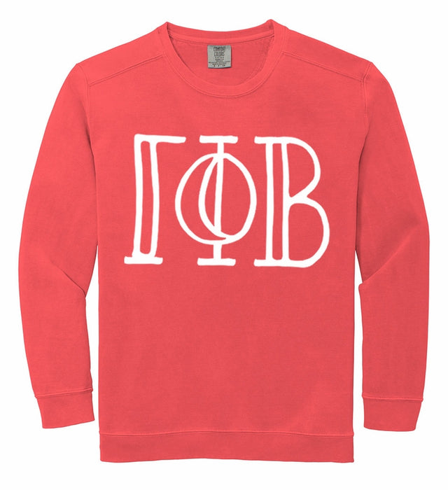 Gamma Phi Beta Comfort Colors Greek Letter Sorority Crewneck Sweatshirt