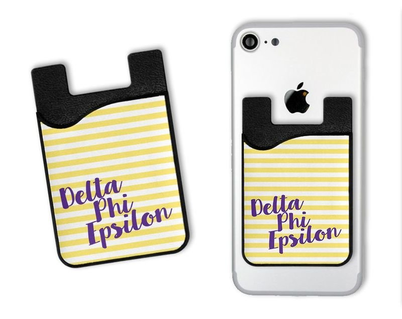 Delta Phi Epsilon Sorority Stripes Caddy Phone Wallet