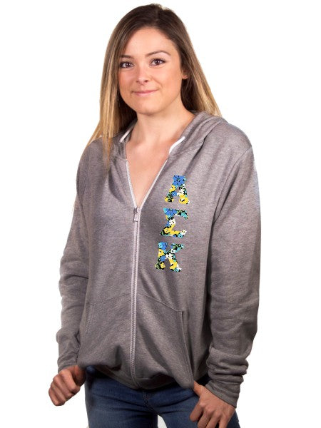 Alpha Sigma Kappa Unisex Full-Zip Hoodie with Sewn-On Letters