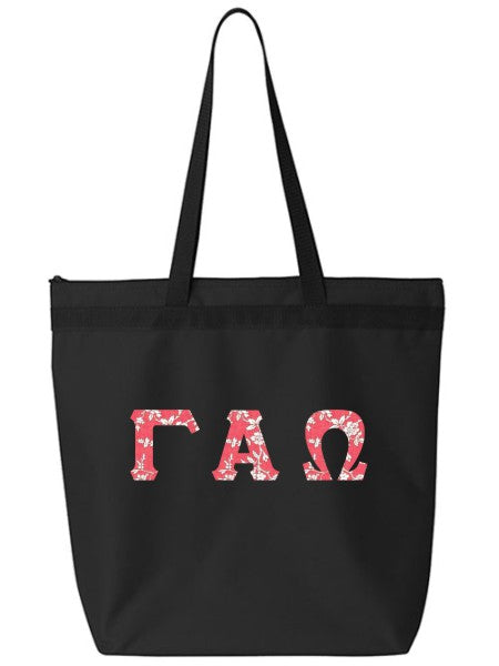 Gamma Alpha Omega Large Zippered Tote Bag with Sewn-On Letters