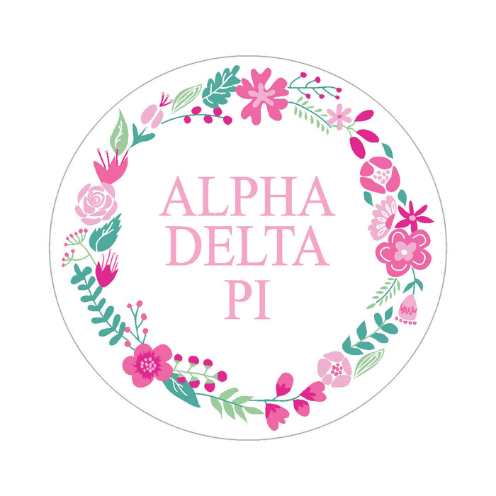 Alpha Delta Pi Floral Wreath Sticker