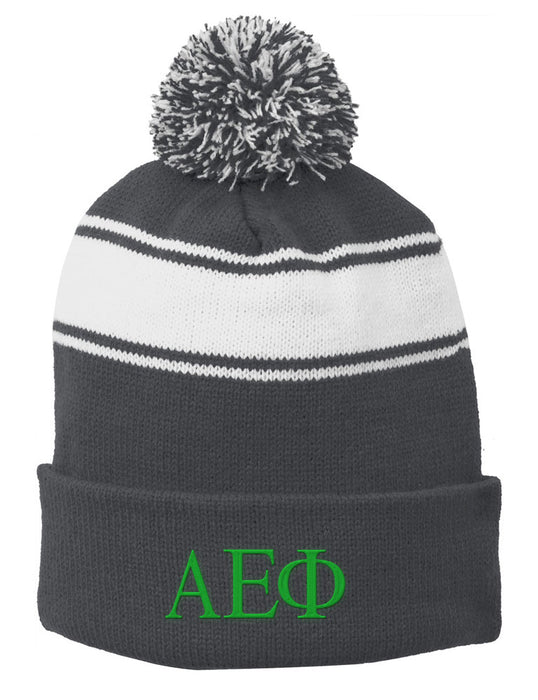 Alpha Epsilon Phi Embroidered Pom Pom Beanie