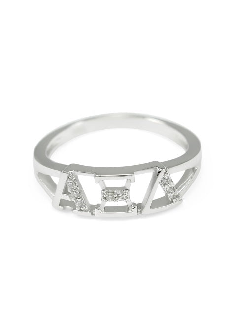 Alpha Xi Delta Sterling Silver Ring with Lab Created Clear Diamond