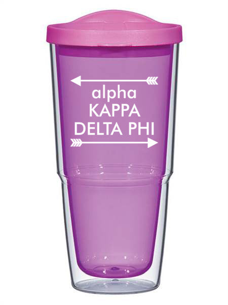 Alpha Kappa Delta Phi Arrow Top Bottom 24oz Tumbler with Lid