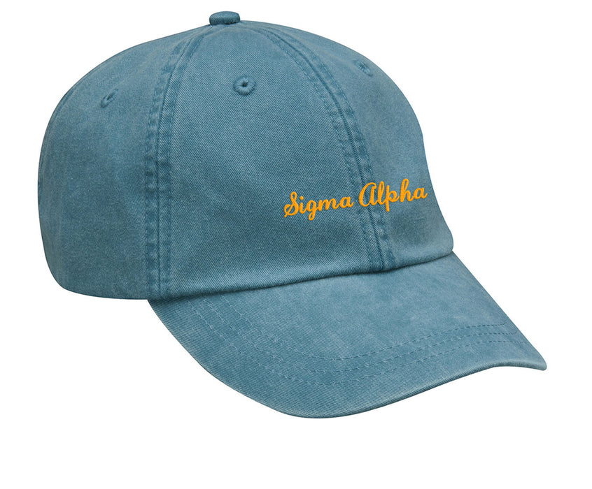 Sigma Alpha Cursive Embroidered Hat