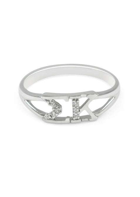Sigma Kappa Sterling Silver Ring with Lab Created Clear Diamond