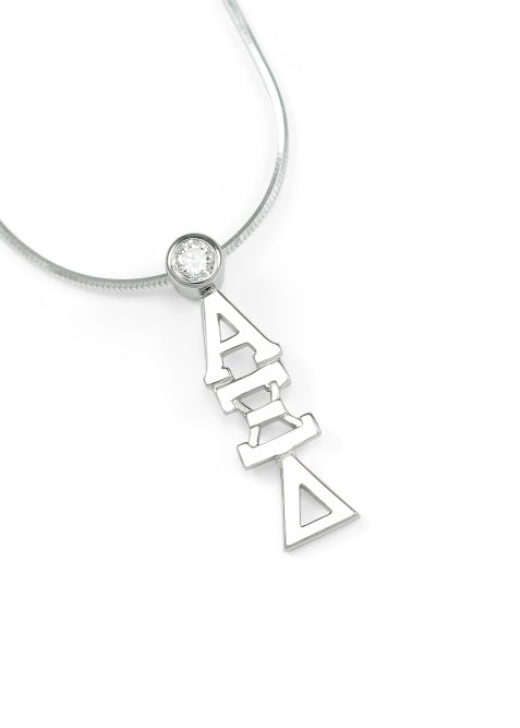 Alpha Xi Delta Sterling Silver Lavaliere Pendant with Clear Swarovski Crystal