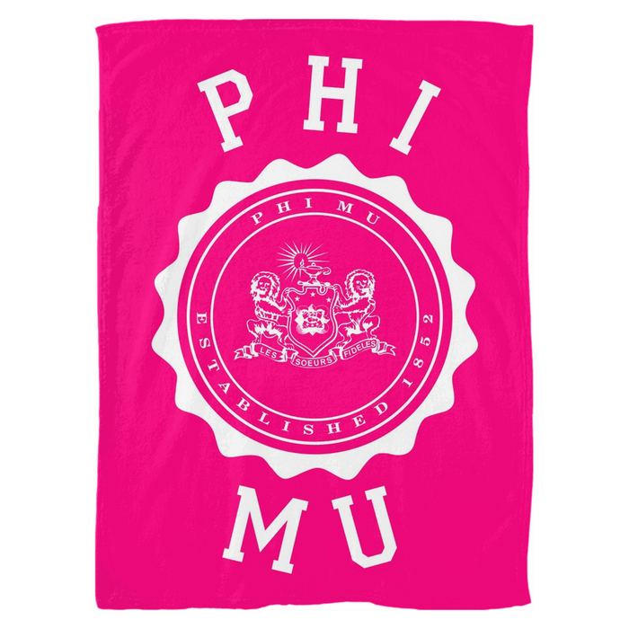 Phi Mu Seal Fleece Blankets Phi Mu Seal Fleece Blankets