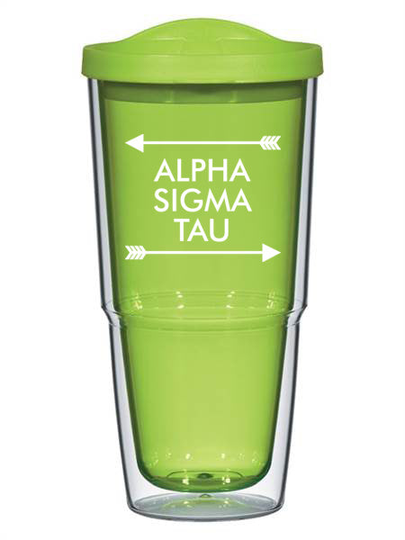 Alpha Sigma Tau Arrow Top Bottom 24oz Tumbler with Lid