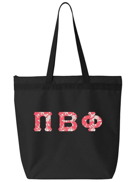 Pi Beta Phi Large Zippered Tote Bag with Sewn-On Letters