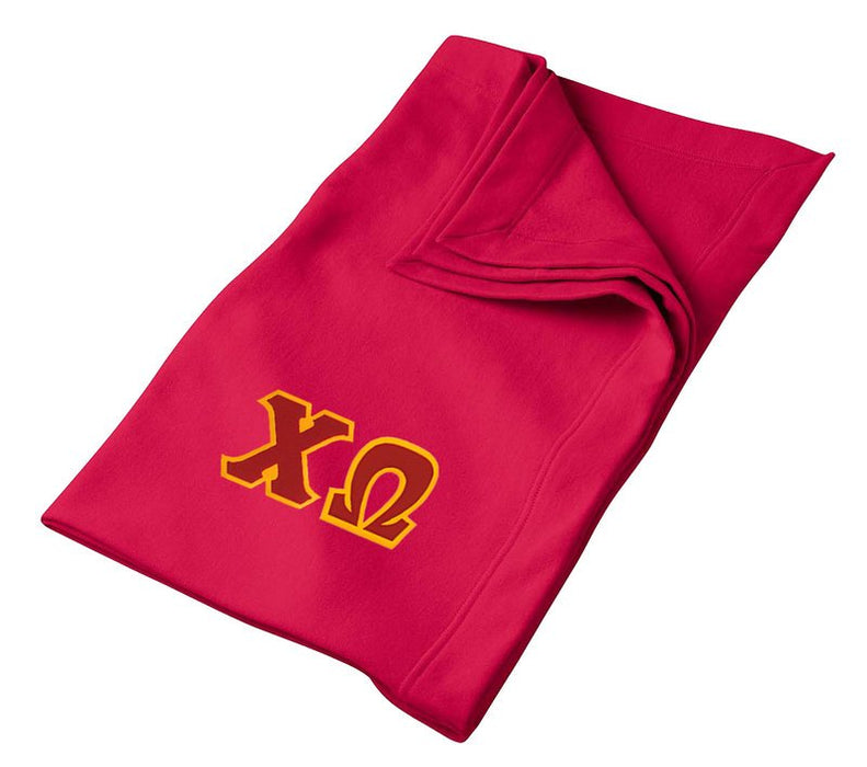 Chi Omega Greek Twill Lettered Sweatshirt Blanket