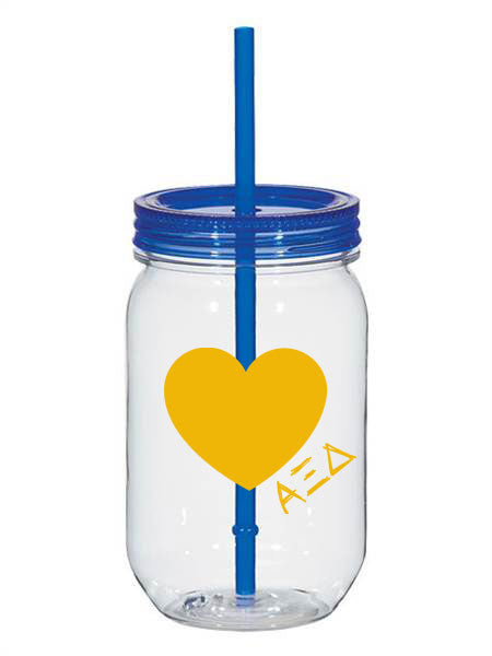 Alpha Xi Delta 25oz Scribbled Heart Mason Jar
