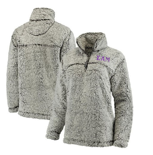 Sigma Alpha Mu Embroidered Sherpa Quarter Zip Pullover