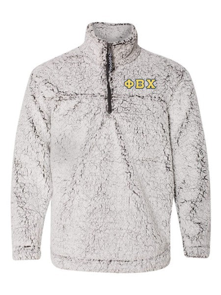 Phi Beta Chi Embroidered Sherpa Quarter Zip Pullover