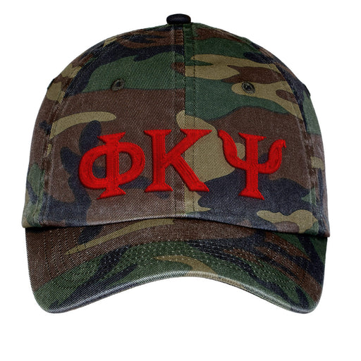 Phi Kappa Psi Letters Embroidered Camouflage Hat