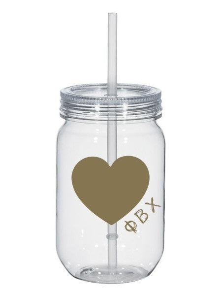 Phi Beta Chi 25oz Scribbled Heart Mason Jar