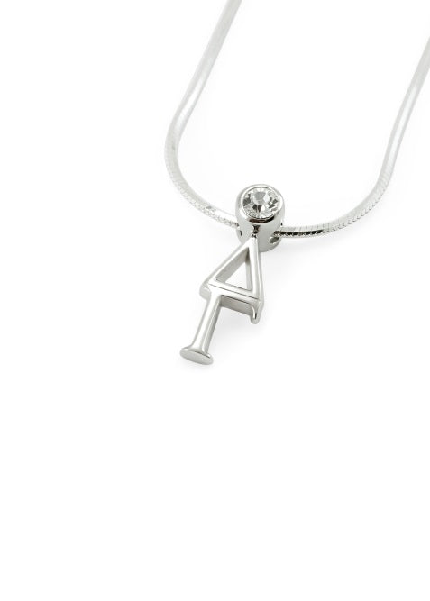 Delta Gamma Sterling Silver Lavaliere Pendant with Clear Swarovski Crystal