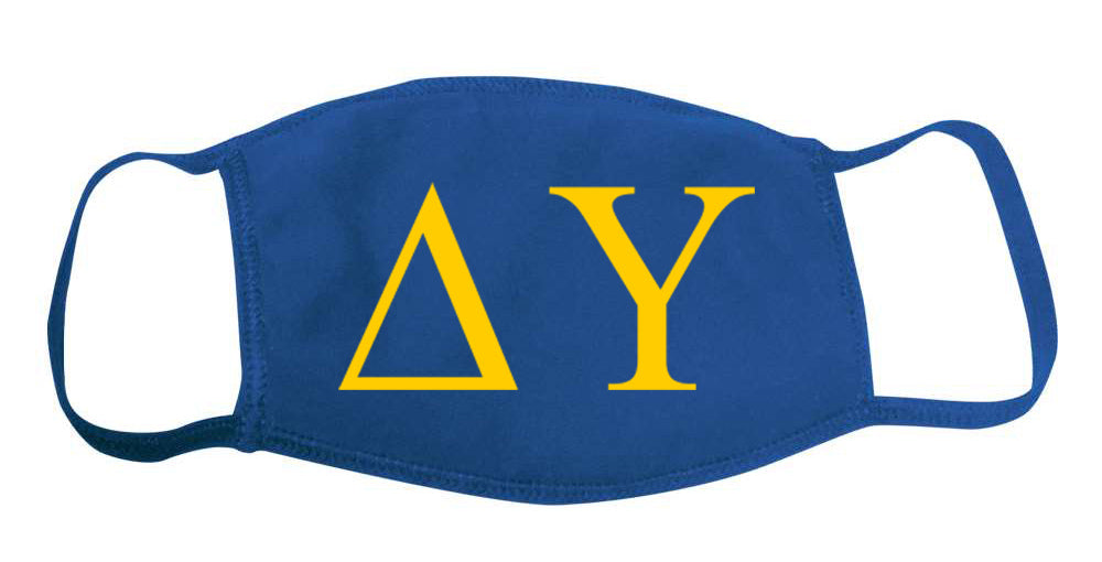 Delta Upsilon Face Mask With Big Greek Letters