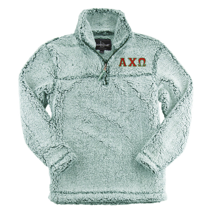 Alpha Chi Omega Embroidered Sherpa Quarter Zip Pullover
