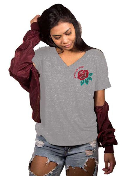 Gamma Alpha Omega Rose Slouchy V-Neck Tee