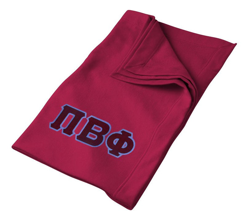 Pi Beta Phi Greek Twill Lettered Sweatshirt Blanket