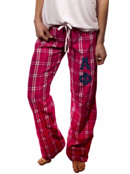 Alpha Phi Pajama Pants with Sewn-On Letters
