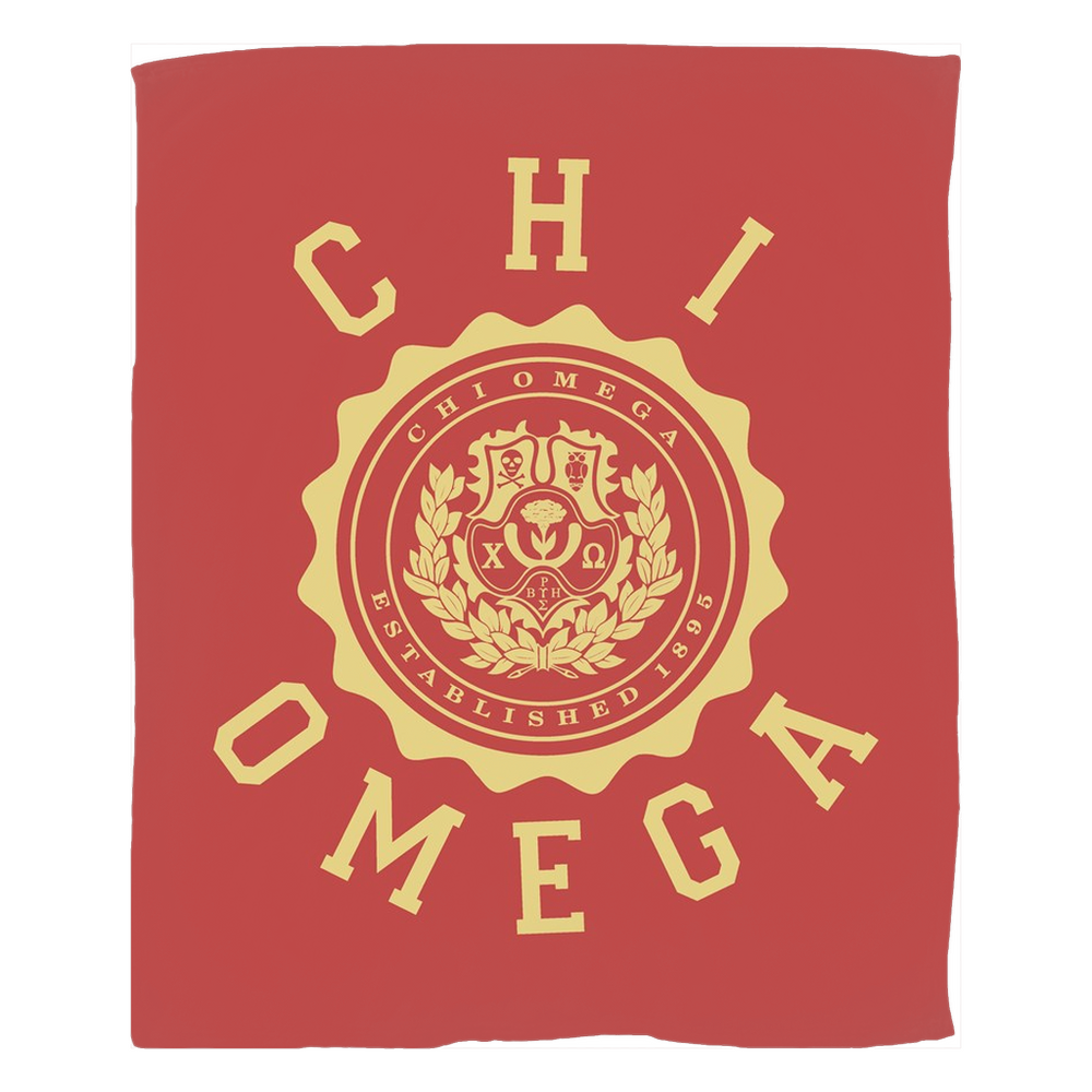 Chi Omega Seal Fleece Blankets Chi Omega Seal Fleece Blankets