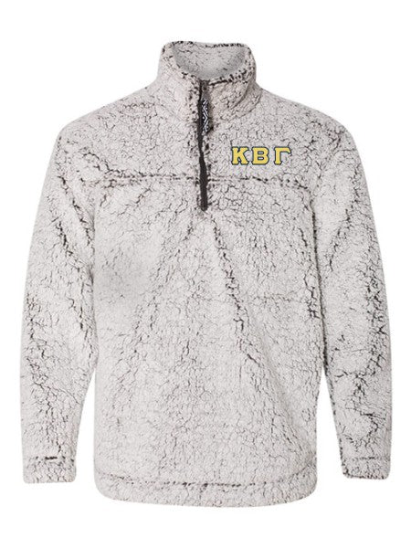 Kappa Beta Gamma Embroidered Sherpa Quarter Zip Pullover