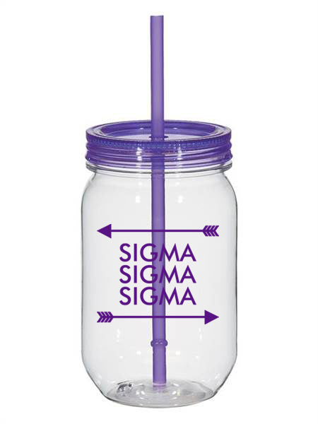 Sigma Sigma Sigma Arrow Top Bottom 25oz Mason Jar