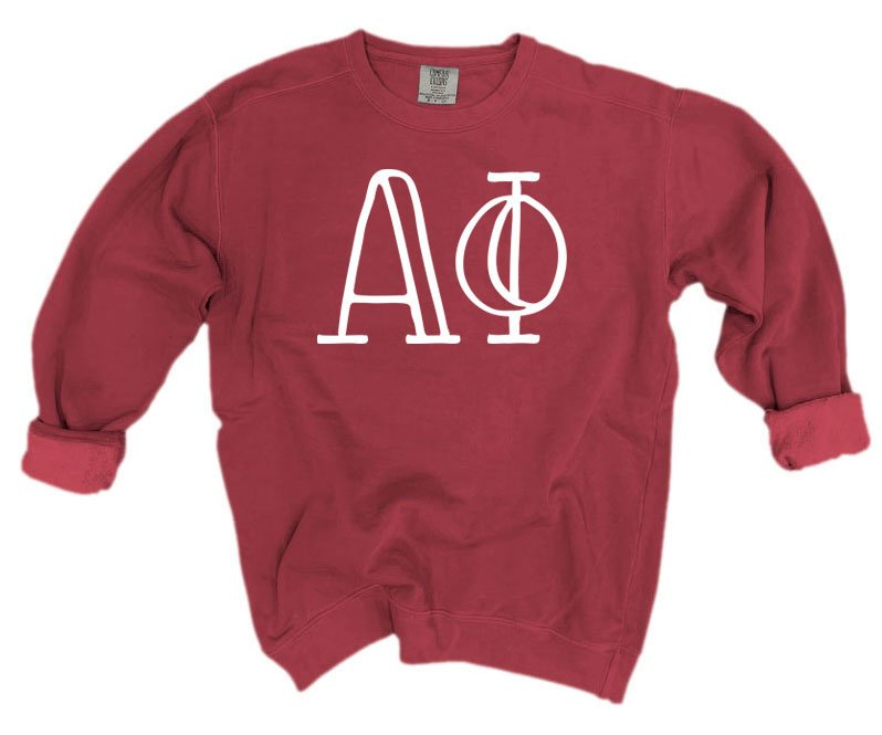 Alpha Phi Comfort Colors Greek Letter Sorority Crewneck Sweatshirt
