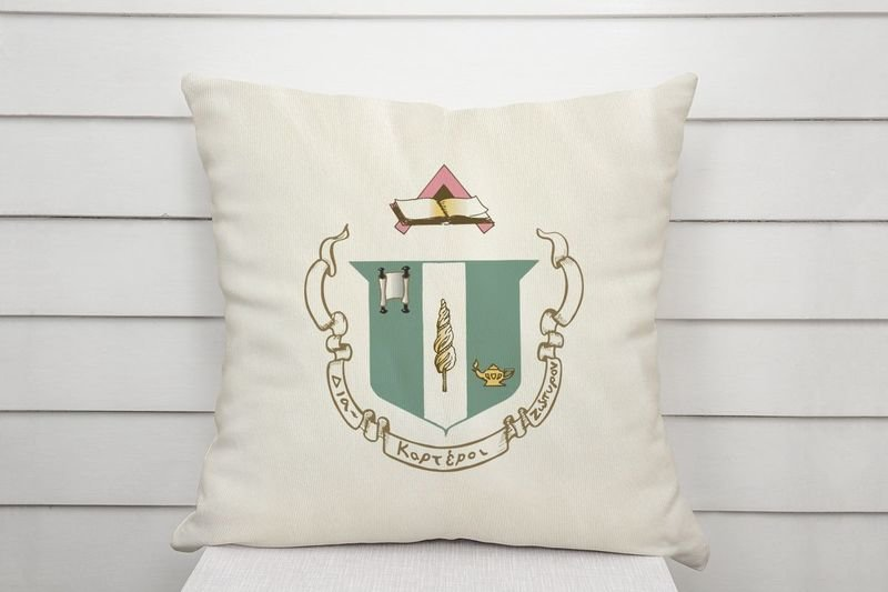 Delta Zeta Linen Shield Throw Pillow