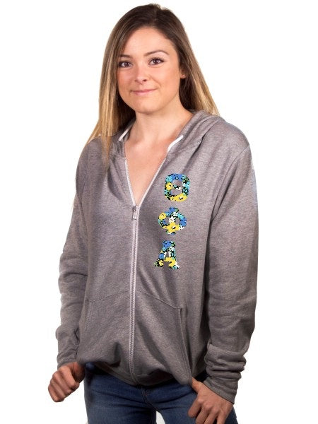 Theta Phi Alpha Fleece Full-Zip Hoodie with Sewn-On Letters