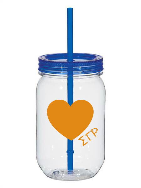 Sigma Gamma Rho 25oz Scribbled Heart Mason Jar