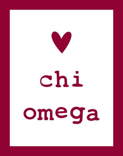 Chi Omega Heart Sticker