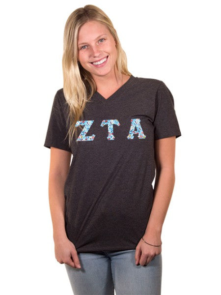 Zeta Tau Alpha Unisex V-Neck T-Shirt with Sewn-On Letters