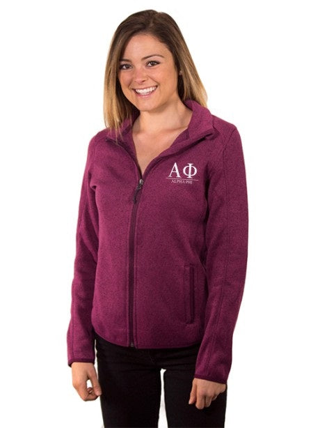 Alpha Phi Embroidered Ladies Sweater Fleece Jacket