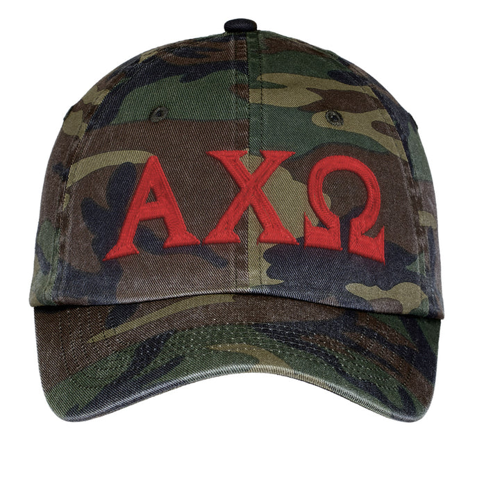 Alpha Chi Omega Letters Embroidered Camouflage Hat