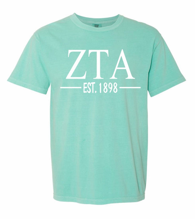 Zeta Tau Alpha Comfort Colors Established Sorority T-Shirt