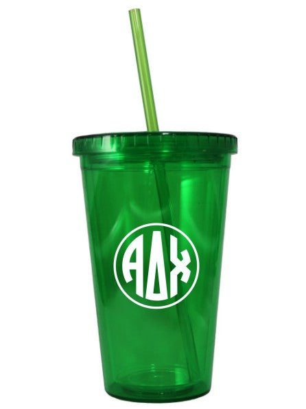 Sorority Monogram 16 oz Acrylic Tumbler