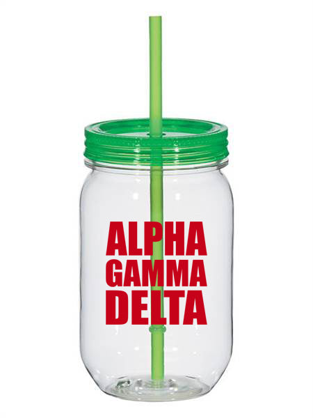 Alpha Gamma Delta Big Stacked Greek 25oz Mason Jar