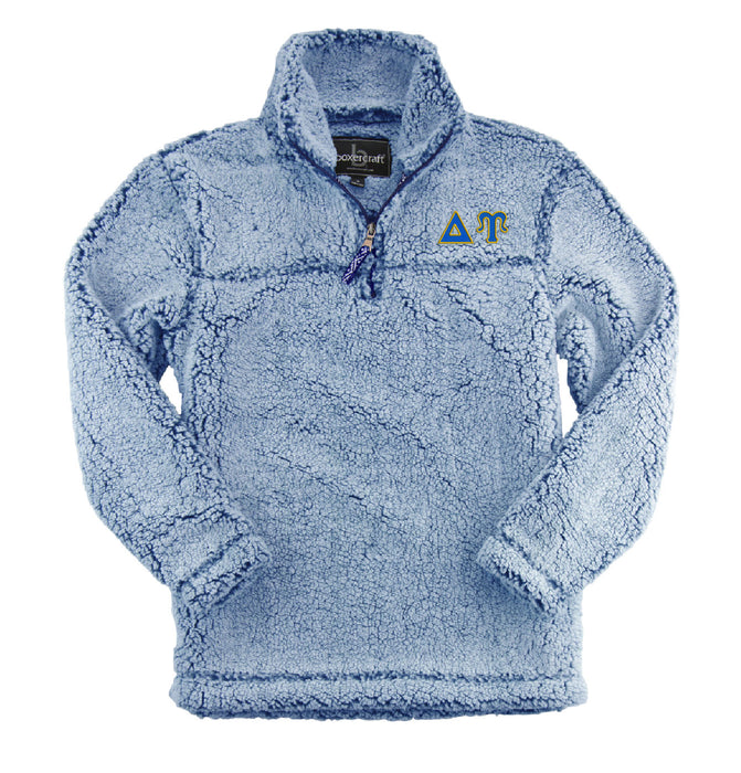 Delta Upsilon Embroidered Sherpa Quarter Zip Pullover